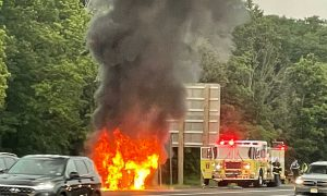 Car shoots up in flames on the Garden State Parkway