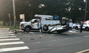 Car flips after taking a red light on Route 9 and County Line Road this morning
