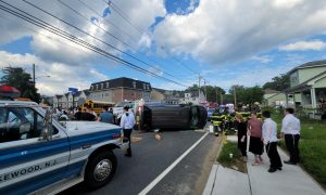 Vehicle flips after crash on Route 88
