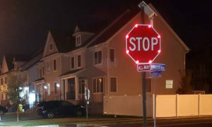 NOTICE: New flashy stop signs installed in Oak & Vine