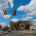 New traffic signal installed at County Line / Brook Road as part of intersection widening project